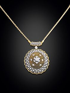 This stunning necklace showcases the intricate and ornate pierced gold work for which Buccellati is famous.