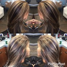 Chocolate brown and light caramel multi dimensional blonde with foil and Balayage