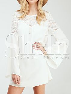 White Long Sleeve With Lace Dress 15.99