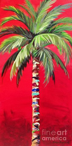 Palm Tree Art, Tree Wall Art, Palm Trees, Palm Tree Paintings, Tree Tree, Tree Leaves, Palm Tree Background, Red Background, Colorful Trees