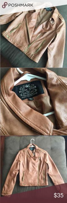 (NWOT) Brown Leather jacket Size: XL - Could fit someone that wears a L or M  Color: brown  Brand: Blanc Noir Style: Great to style with anything, very cute, pockets and zippers to store things. Not sure if it's real leather. Never used. blac noir Jackets & Coats Jean Jackets