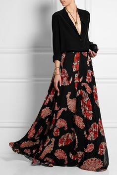 So tastefully dramatic. (Giambattista Valli | Printed silk-georgette maxi skirt)