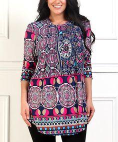 Love this Pink & Blue Arabesque Notch Neck Tunic - Plus on #zulily! #zulilyfinds