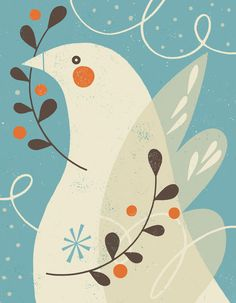 Winter Dove by Tracy Walker… Winter Illustration, Bird Illustration, Christmas Illustration, Peace Bird, Peace Dove, Christmas Art, Fabric Painting, Bird Art, Art Lessons