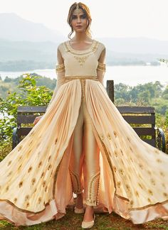 Blush Nude Embroidered Pant Style Anarkali