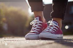 Burgundy Converse sneakers