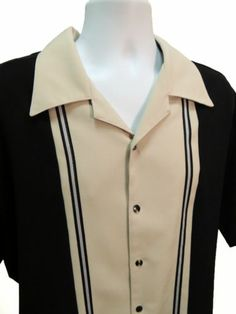 HOAX Original Black Tan Stripe Retro Style HIPSTER BOWLING SHIRT Men's Size L Best Polo Shirts, Men's Shirts, Casual Shirts, 1950s Mens Clothing, Camisa Vintage, Concert Wear, Style Hipster, Tony Soprano, Guitar Painting