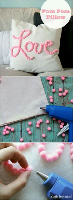 DIY Pom Pom Love Pillow Tutorial - www.adizzydaisy.com