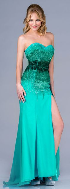 Long mid hombre green gown