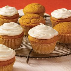 Perfect for fall celebrations, bake sales or afterschool snacks, these pumpkin cupcakes are crowned with a cream cheese frosting that has a hint of spice.