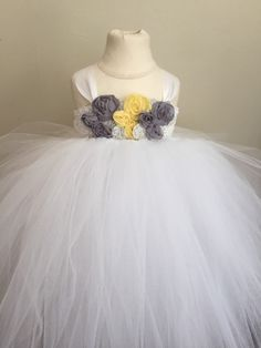 Grey yellow and white tulle flower girl dress by AnaBeanDesigns