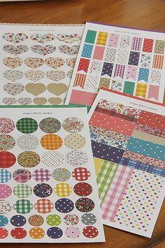 Washi Tape-Sticker Set-Japanese Masking Tape Stickers- Fabric Design Sticker Set-Deco Sticker Set of 136. $6.95, via Etsy.
