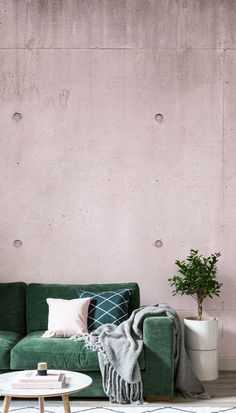 If you want a unique and modern look for your room, the Pink Modern Concrete Block is a great option. This faux concrete wallpaper design features blush pink, which is one of the interior design world's biggest colour obsessions. Minimalist Interior, Minimalist Decor, Minimalist Kitchen, Minimalist Bedroom, Minimalist Living, Modern Minimalist, Concrete Block Walls, Cinder Block Walls, Concrete Bedroom