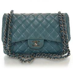 Chanel Lambskin Quilted Jumbo Double Flap Turquoise Bagschanel Handbagscoco