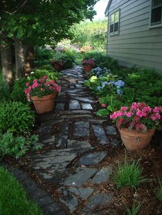 Can't grow grass? Install a garden path and shade garden to lead to your backyard. People always wonder what they're going to find at the end of the flagstone path.