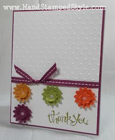 simple thank you cards.   This needs only 3 flowers tucked all together.