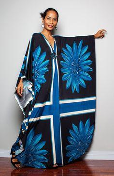 Kimono Maxi Dress Long Wide Sleeve Bohomenian Dress by Nuichan, $58.00