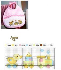 Ponto cruz - duck in train Cross Stitch Boards, Cross Stitch For Kids, Cross Stitch Bookmarks, Mini Cross Stitch, Baby Embroidery, Cross Stitch Embroidery, Cross Stitch Designs, Cross Stitch Patterns, Bib Pattern