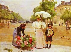 """Louis Marie de Schryver (French artist, 1862-1942) Avenue Des Champs Elysees"""""""