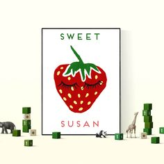 Personalised Sweet Strawberry art print, add some colour in your kids bedroom. A lovely wall hanging poster that can be personalised with your kids name Strawberry Art, Bedroom Posters, Hanging Posters, Kid Names, Kids Bedroom, Colour, Art Prints, Sweet, Wall