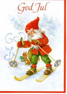 Swedish Christmas greeting card. God Jul = Merry Christmas.