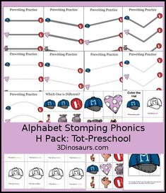 Free Alphabet Stomping Phonics H Tot-Preschool Pack - 20 pages of activities - 3Dinosaurs.com