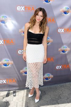 Katharine McPhee gets caught in the nets at Extra at Universal Studios Hollywood in Universal City, California on April 15, 2015.