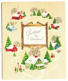 Vintage Village Homes AT Christmas With OLD Fashion People Greeting Card | eBay