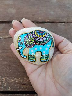 Blue Rock art elephant art gift for her Painted pebbles
