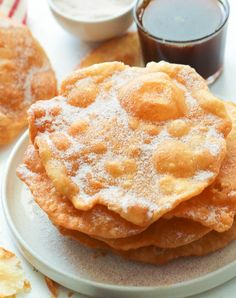 Bunuelos - light, crispy, sweet, flat disk fritter fried to golden perfection and drizzled with a homemade Piloncillo syrup Mexican Sweet Breads, Mexican Bread, Mexican Snacks, Mexican Dessert Recipes, Mexican Dishes, Mexican Food Recipes, Mexican Easy, Mexican Pastries, Drink Recipes