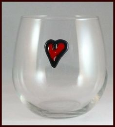 Heart Wine Charm Glass Clings With Valentines Day Gift Tag And Gift Bag