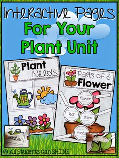 FREE interactive pages for your plant unit! This is PERFECT for teaching plant parts and plant needs!