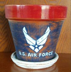 Handpainted terracotta pot United States Air Force, 8 inches.  On ETSY under CRAWFORD BUNCH