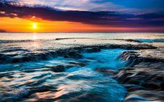 Lataa kuva Rannikolla, sunset, ocean, kivet, Hawaii, tropiikissa, USA