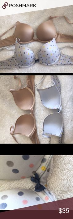 """Two 32b aerie bras! Super cute and comfortable. They are both """"Brooke"""" style push-up bras. Loved both of these for a long time but I have too many bras so they need a new home! aerie Intimates & Sleepwear Bras"""