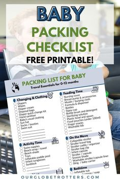 Perfect for your next baby vacation, download our complete baby travel checklist + read all our super handy hints on getting prepared for baby travel | Baby Travel Tips | What to pack when traveling with a baby | Baby Tavel Essentiels List | gear you need for a vacation with a baby | Our Globetrotters Family Travel Blog Printable Packing List, Packing Checklist, Packing List For Travel, Packing Tips, Family Vacation Destinations, Family Vacations, Family Travel, Traveling With Baby, Travel With Kids