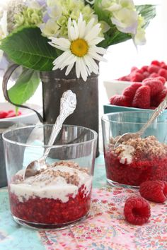 Raw Raspberry Crumble - vegan, low-carb, use agave in place of maple syrup to lower the GI