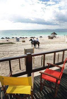 Riding a horse in winter time in Praia do Pego beach, Comporta, Alentejo coast line. Portugal