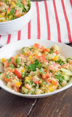 Cauliflower Tabbouleh recipe that is veggie packed low carb, low fat, gluten free, vegan, paleo and Whole30 approved