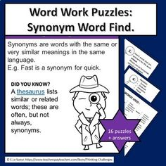 Are you looking for a fun activity for your word work/ literacy center to independently challenge older students? Word Work synonym puzzles are ideal for vocabulary building, and practice at finding synonyms. A word list for the teacher and all puzzle answers are included.WHAT YOU GET:Instructions.Teacher Classroom Activities, Fun Activities, Puzzles And Answers, Relief Teacher, Critical Thinking Activities, Higher Order Thinking, Vocabulary Building, Substitute Teacher, Thematic Units