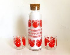 Set of 3 Vintage Glass TOMATO JUICE Carafe Pitcher and 2 Glasses Set on Etsy, $24.00