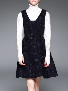 #AdoreWe #StyleWe Mini Dresses - D.FANNI Navy Blue Pockets Sleeveless A-line Mini Dress - AdoreWe.com