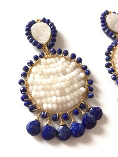 These statement earrings are perfect for spring and summer time! With fresh blue and white hues you cant go wrong! Lapis, white agate and Druzy make up these stunners. Earrings measure approximately 2.5 inches long. All pieces are handmade, please do not hesitate to contact me