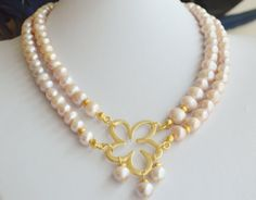 freshwater pink pearls with gold plated pendant by Lalyca on Etsy, $210.00