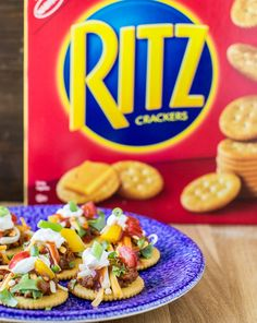 Easy Turkey Taco Crackers are a fun, bite-sized twist on traditional Turkey Tacos! Serve these tasty little bites at parties, on Game Day, or any time you are craving a taco. The RITZ® are perfect for small hands, too! Recipe via @meggan13. Put It On A RITZ® AD