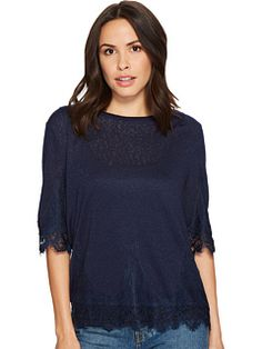 B Collection by Bobeau Reeve Lace Trim T-Shirt