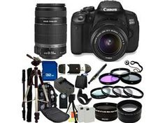 Canon 650D / EOS Rebel T4i Digital Camera with EF-S 18-55mm IS II Lens & EF-S 55-250mm IS II Lenses. Also Includes: Wide Angle & Telephoto Lenses, 7 Pro Filters, Tripod, Monopod, Backpack & More for only $899.99!! I WANT!