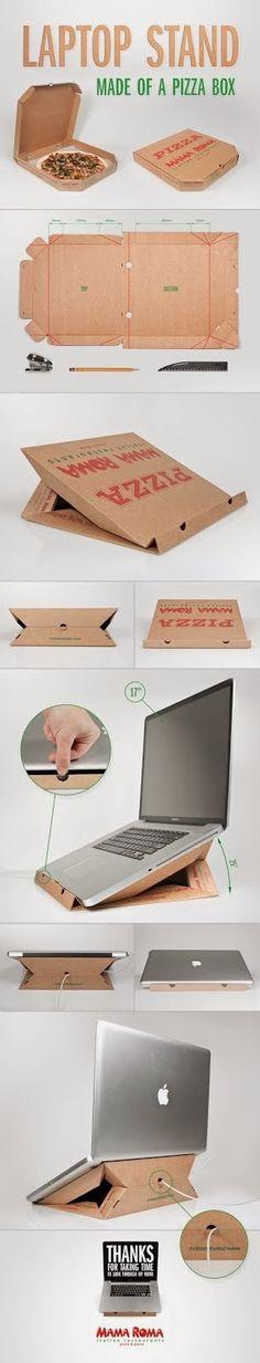 Recycling : Laptop stand made of a pizza box #rialzo #computer fatto con il #cartone della #pizza