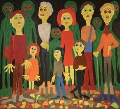 Waiting For the Bus, Maarit Korhonen, acrylic, oilsticks, canvas, 81cm x 89cm Dark Paintings, Original Paintings, Online Painting, Artwork Online, Dancer In The Dark, Autumn Painting, Original Art For Sale, Figurative Art, Find Art