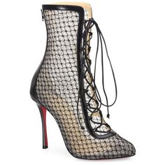 Christian Louboutin Hotero Mesh Lace-Up Booties ($1,475) ❤ liked on Polyvore featuring shoes, boots, ankle booties, apparel & accessories, black, short boots, black boots, short black boots, black lace up bootie and black lace up boots